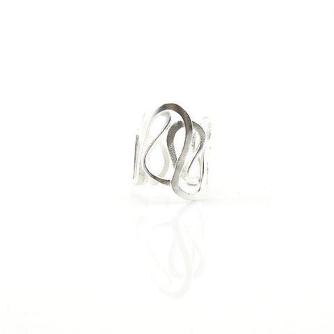 Cutout Crown Sterling Silver Adjustable Ring
