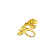 Ginkgo Gold Sterling Silver Adjustable Ring