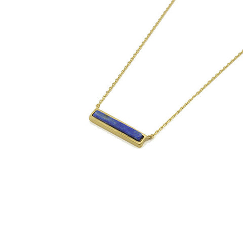 Rectangle Blue Stone Gold Short Necklace