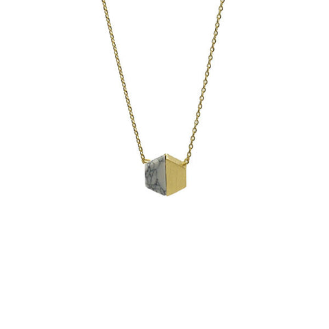 Hexagon White Stone Gold Short Necklace