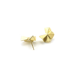 Geometric Moon Gold Sterling Silver Studs