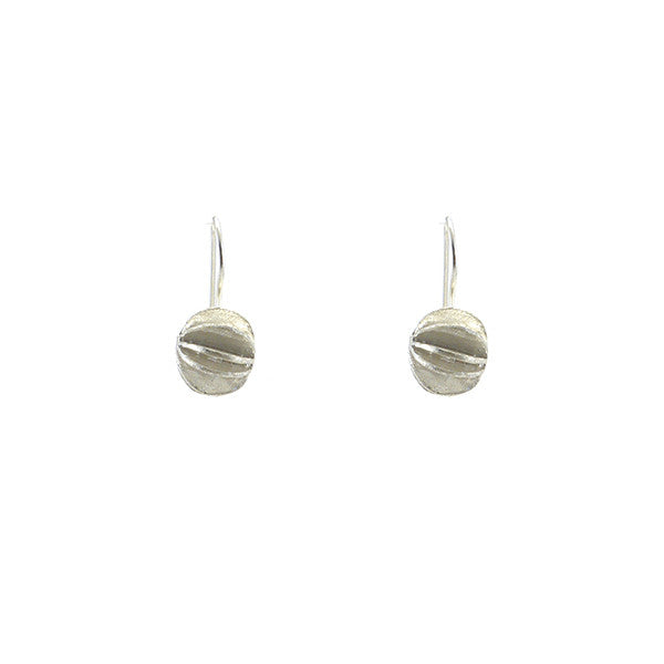 Small Folderable Sphere Sterling Silver Earrings
