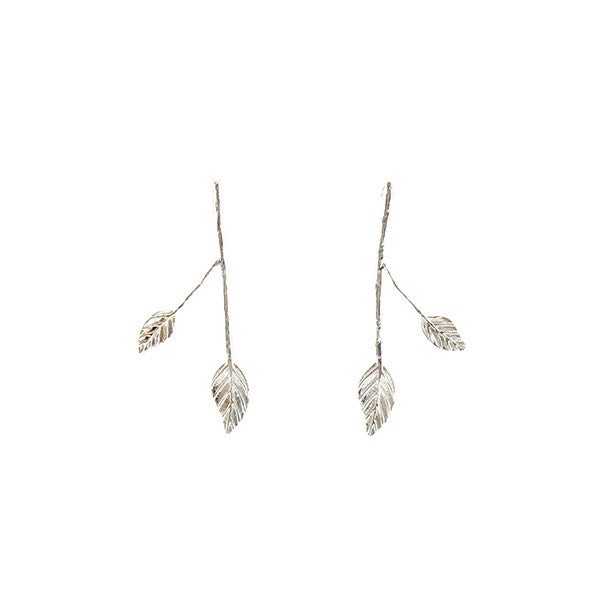 Long Branch Leaf Sterling Silver Studs