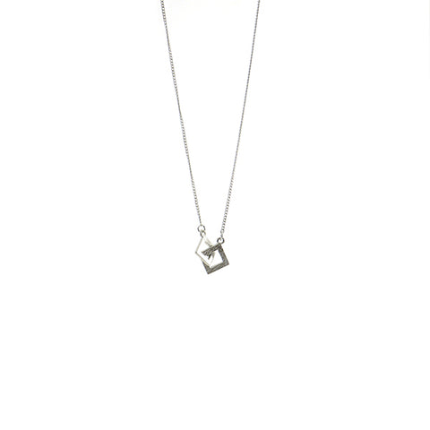 Duo Cutout Square Silver Short Necklace