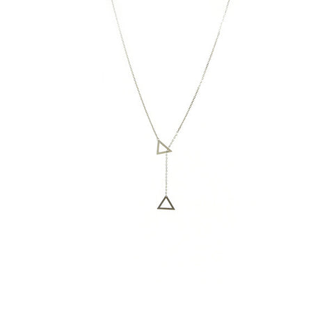 Duo Cut-out Triangle Sterling Silver Short Necklace