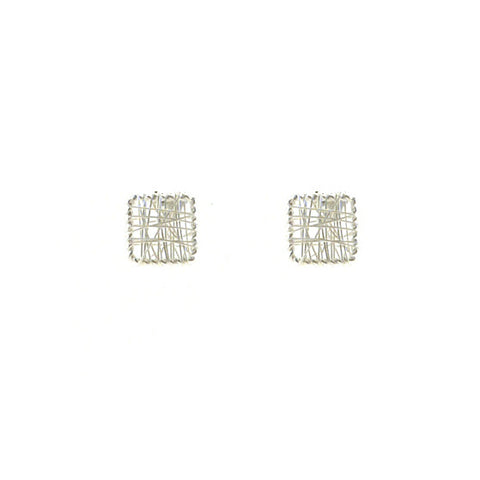 Yarn Square Sterling Silver Studs