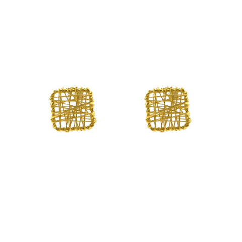 Yarn Square Gold Sterling Silver Studs