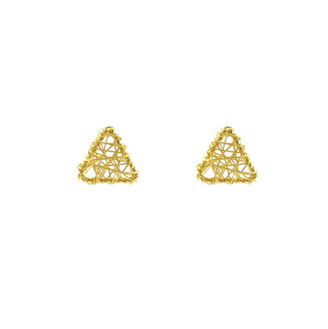 Yarn Triangle Gold Sterling Silver Studs
