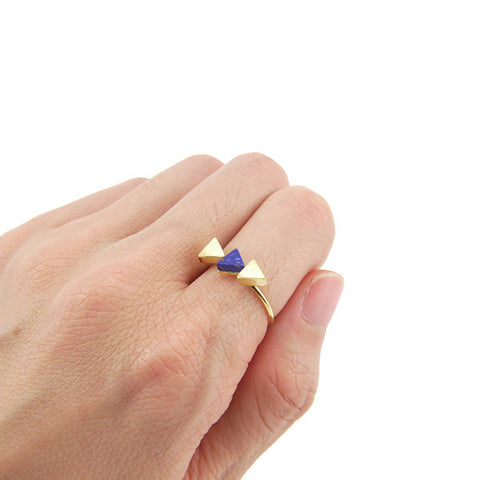 Trio Triangle Blue Stone Gold Ring