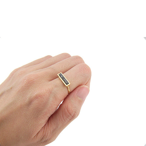 Rectangle Black Stone Gold Ring