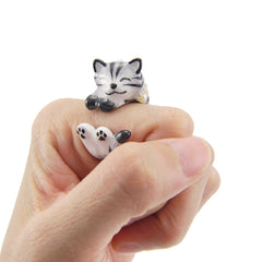Single Cat Grey & White Ring