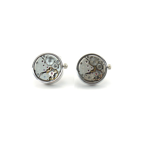 Round Mechanical Watch Silver Cufflinks