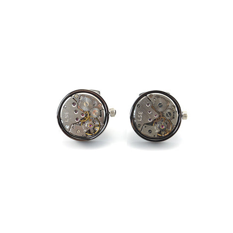 Round Mechanical Watch Black Cufflinks