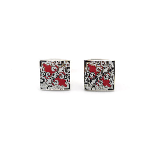 Oriental Pattern Square Silver & Red Cufflinks
