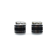 Basic Black Rectangle with 2 Lines Cufflinks