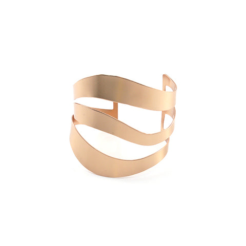Trio Cutout Line Rose Gold Sterling Silver Bangle