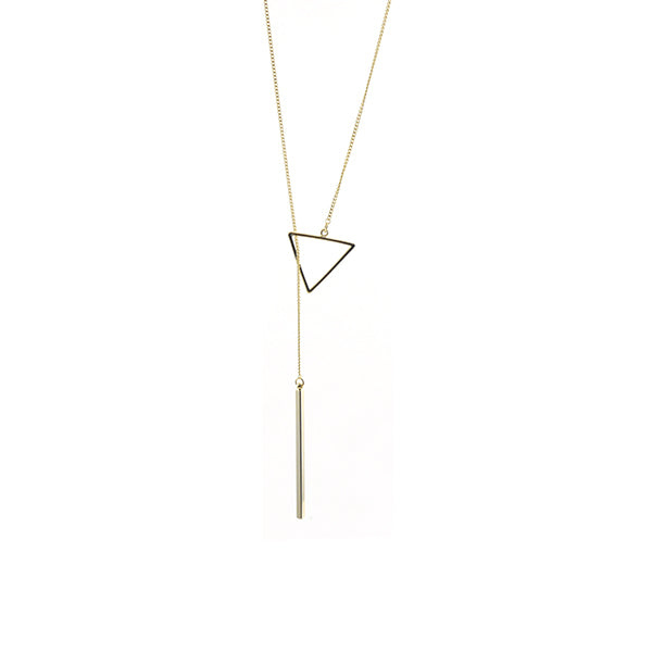 Cutout Triangle & Long Bar Gold Adjustable Necklace