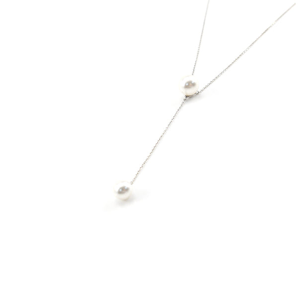 Big Pearl With Chain Of Small Pearl Sterling Silver Short Necklace