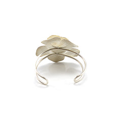 Big Hammered Pattern Rose Sterling Silver Bangle