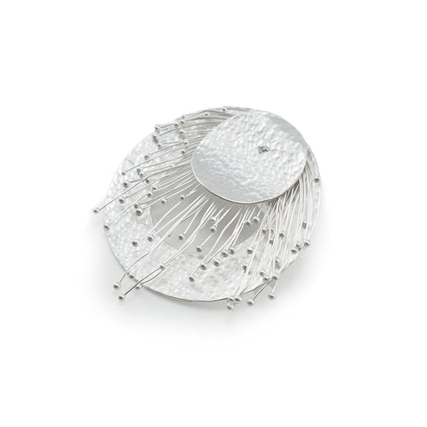 Round Badge Silver Brooch