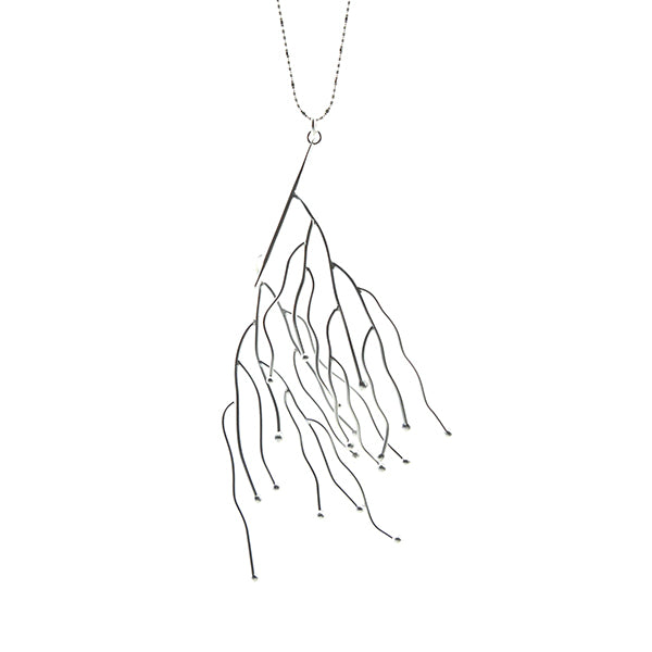 Big Branch Stick Silver Long Necklace