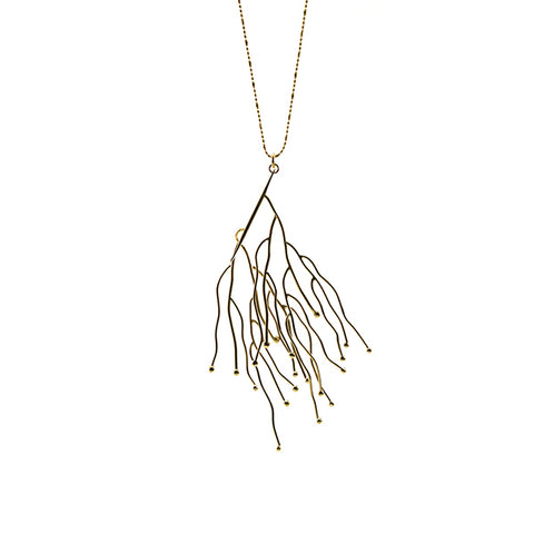 Big Branch Stick Gold Long Necklace