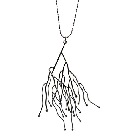 Big Branch Stick Black Long Necklace