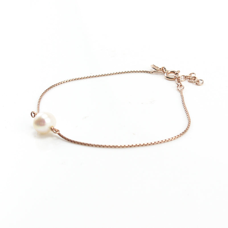 Big Pearl Rose Gold Sterling Silver Bracelet