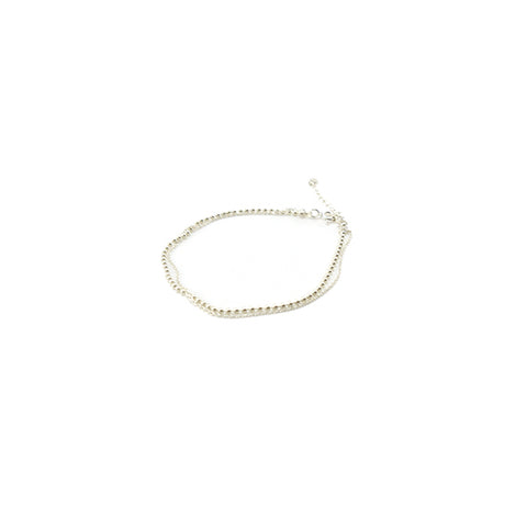 Duo Thin Chain & Ball Chain Sterling Silver Bracelet