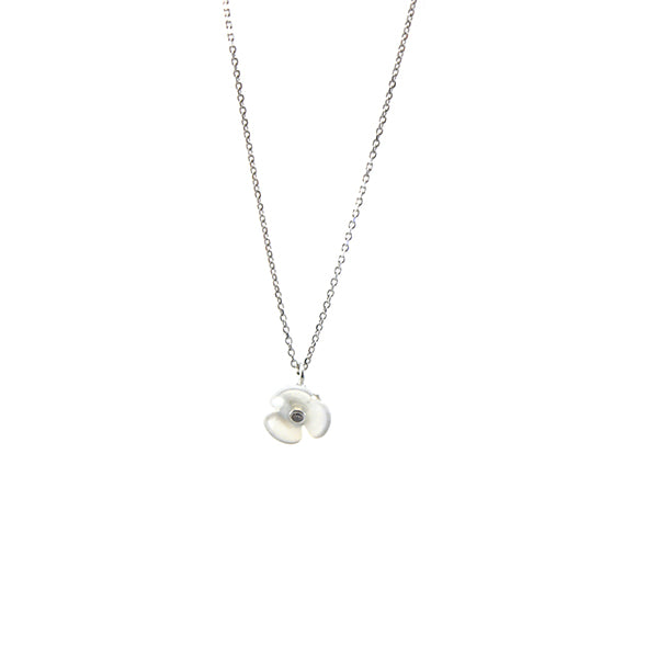 Mini Mother Of Pearl Flower Sterling Silver Short Necklace