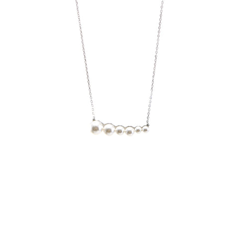 Descending Horizontal SW Pearls Sterling Silver Short Necklace