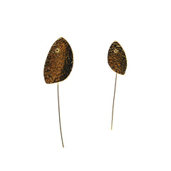 Hammered Non-Symmetrical Oval Leaf Gold Pull-Thru Earrings