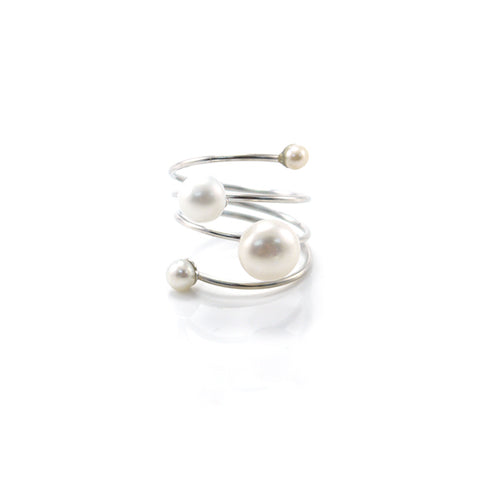 Slinky Wire Quartet Pearls Sterling Silver Ring