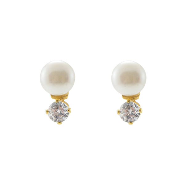 Linked Pearl & Cubic Zirconia Gold Sterling Silver Studs