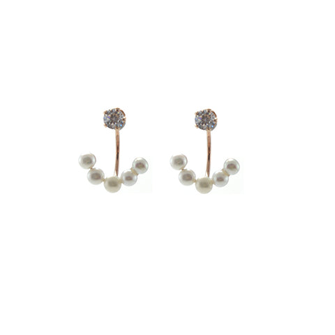 CZ with Quartet Hanging Pearl Gold Sterling Silver Studs
