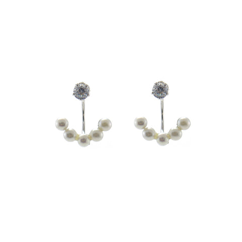 CZ with Quartet Hanging Pearl Sterling Silver Studs