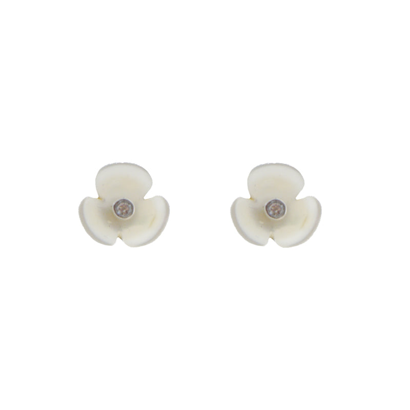 Mini Mother Of Pearl Flower Sterling Silver Studs