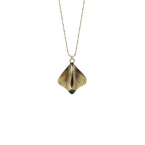 Bell Leaf Gold Long Necklace