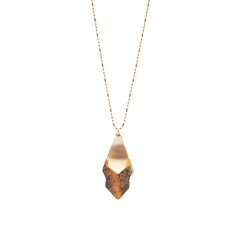 Duo Hanging Big & Small Oval Leaf Rose Gold Long Necklace