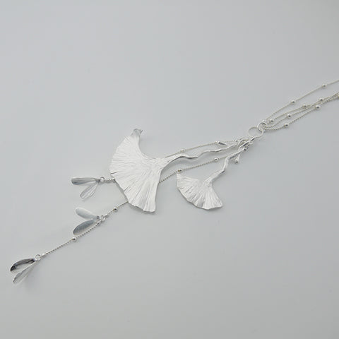 Big Ginkgo Leaf Silver Long Necklace