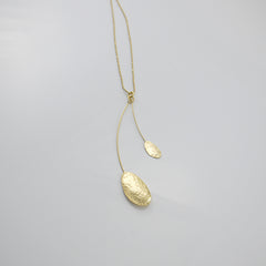 Duo Rhomboid Gold Long Necklace