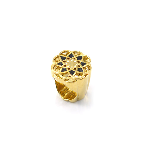 Spinning Flower Black & Gold Ring