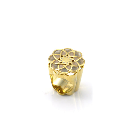 Spinning Flower Gray & Gold Ring