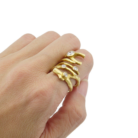 Thick Branch Stick with Cubic Zirconia Gold Sterling Silver Ring