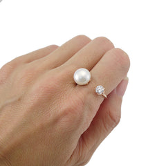 Big Pearl & CZ Open Front Rose Gold Sterling Silver Ring