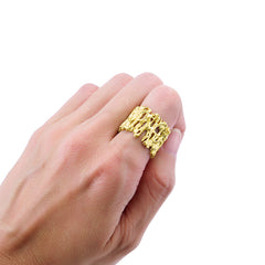 Cutout Lava Crown Gold Sterling Silver Basic Ring