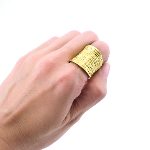 Basic Waffle Pattern Gold Sterling Silver Ring