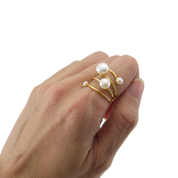 Slinky Wire Quartet Pearls Gold Sterling Silver Ring