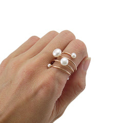 Slinky Wire Quartet Pearls Rose Gold Sterling Silver Ring
