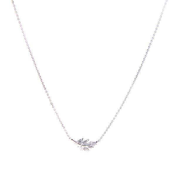 Drop Leaf Silver Short Necklace